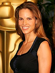Hilary Swank Gets in a Fruit Fight