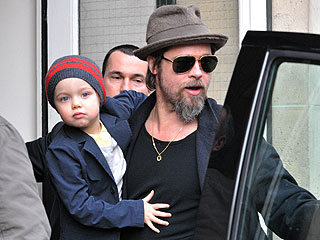 Brad Pitt Takes His Girls Clothes Shopping in Paris