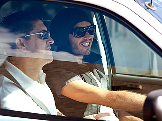 Russell Brand Gets Driving Lessons in L.A.