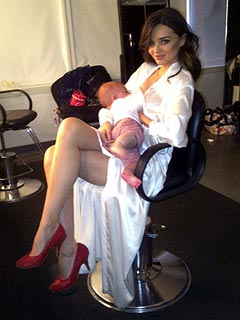 Breastfeeding Miranda Kerr Back at Work with Baby