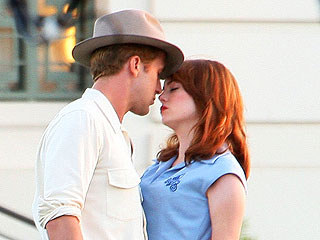 On Set: Ryan Gosling & Emma Stone Film The Gangster Squad | Emma Stone, Ryan Gosling