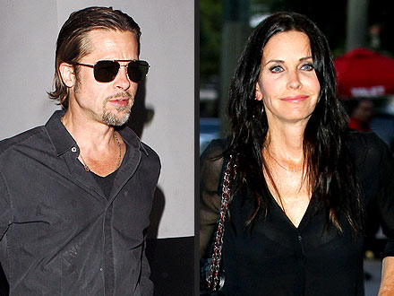 Brad Pitt & Courteney Cox Reunite for Dinner in Hollywood