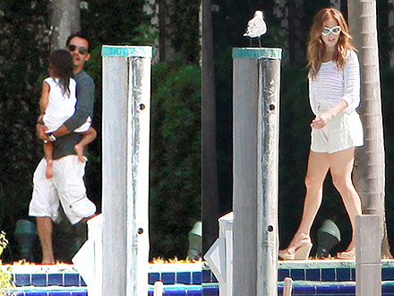 Jennifer Lopez Joins Marc Anthony by the Pool in Miami
