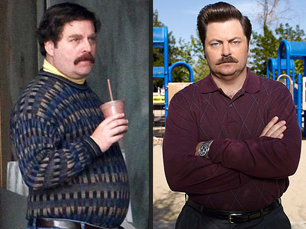 Zach Galifianakis Looks Like Nick Offerman (Ron Swanson): Pictures