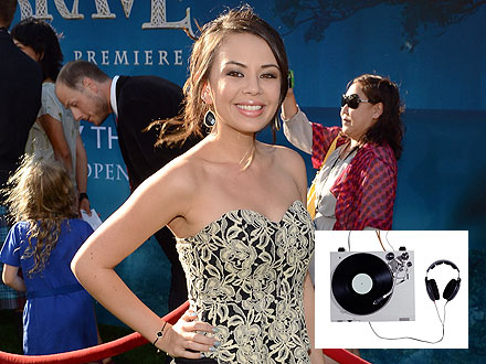 Janel Parrish Checks Out Deejay Equipment During Photo Shoot