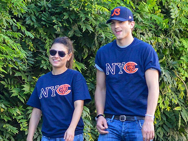 Ashton Kutcher Spoon-Feeds Mila Kunis in N.Y.C.
