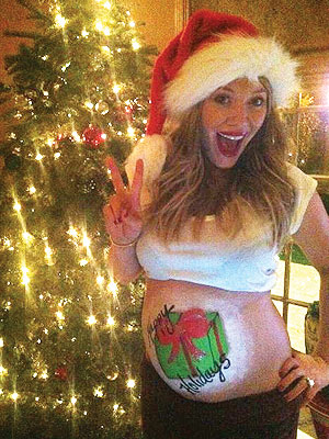 Hilary Duff Gets Ready for Christmas – with Baby Bump Art