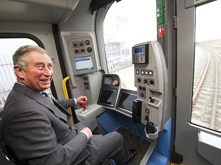 Prince Charles Drives a London Tube Train