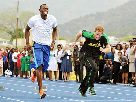 Prince Harry Races Usain Bolt in Jamaica