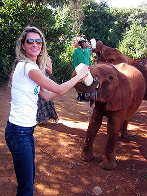 Gisele Bündchen Bottle Feeds a Baby Elephant