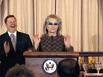 Hillary Clinton Sports Purple Shades (and Beads) for Swearing-In Ceremony