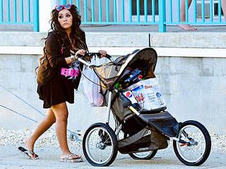 Snooki Walks a Baby Stroller Full of Beer & Party Supplies | Nicole Polizzi