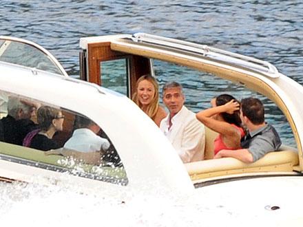 George Clooney, Channing Tatum, Stacy Keibler, Jenna Dewan on a Boat