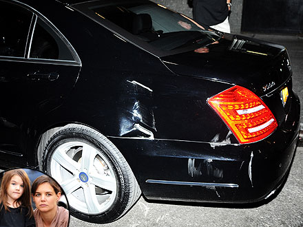 Katie Holmes&#39;s Car Hit by Garbage Truck - Suri and Mom Not Injured