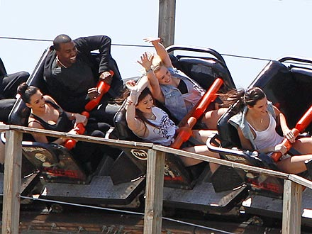 Kim Kardashian Cries on a Roller Coaster with Kanye West | Kanye West, Kendall Jenner, Kim Kardashian, Kylie Jenner