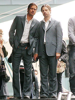 Brad Pitt and His Double Spotted on the London Set of The Counselor | Brad Pitt