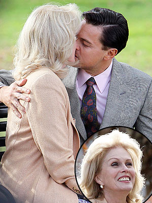 Leonardo DiCaprio Kissing Joanna Lumley on Movie Set