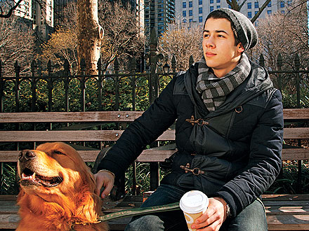 Nick Jonas in New York with Dog