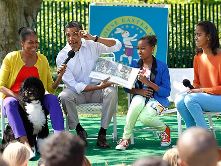 White House Easter Egg Roll 2012: Bo Sits for Reading