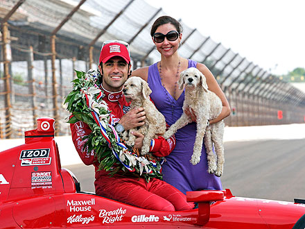 Indy 500 Dario Franchitti and Ashley Judd Celebrate with Dogs