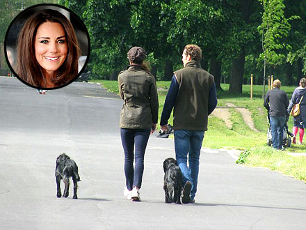 Kate Middleton Walks Dog in Kensington Gardens