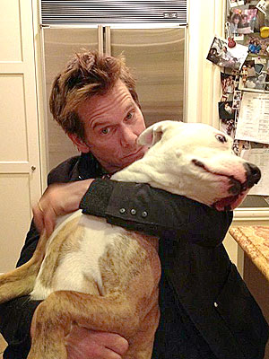 Kevin Bacon Swims with His Dog