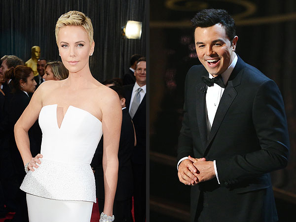 Seth MacFarlane & Charlize Theron 'Talk & Laugh' at Oscars After-Party