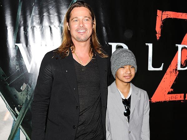 Brad Pitt & Maddox Jolie-Pitt Celebrate Being Costars in N.Y.C.