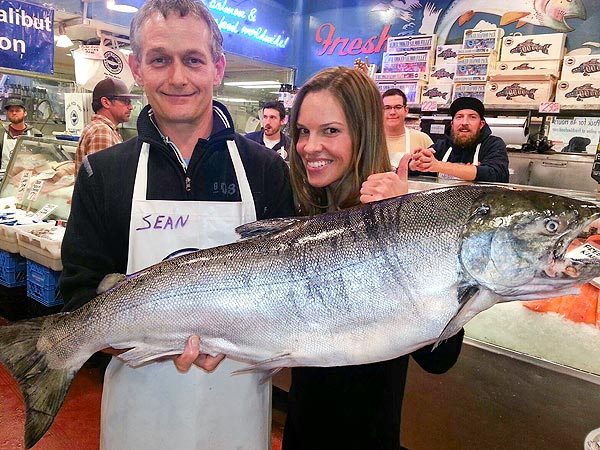 Hilary Swank Poses with Giant Fish in Seattle