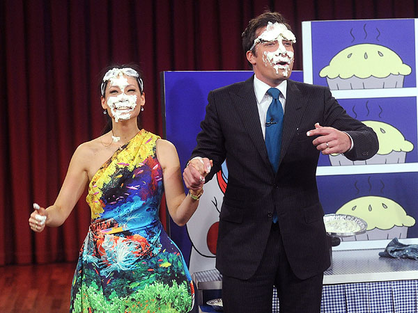 Lucy Liu Gets Pie in the Face on Jimmy Fallon Show
