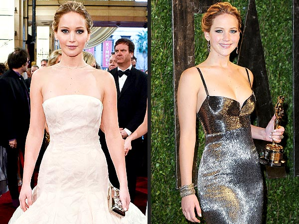 Jennifer Lawrence Two Oscar Dresses - Oscars 2013