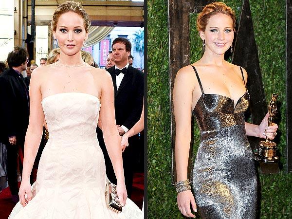 Jennifer Lawrence Two Oscar Dresses - Oscars 2013