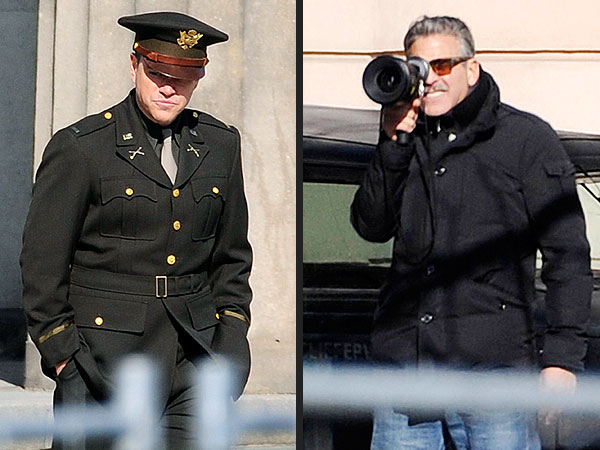 Matt Damon & George Clooney Look Sharp on Berlin Film Set