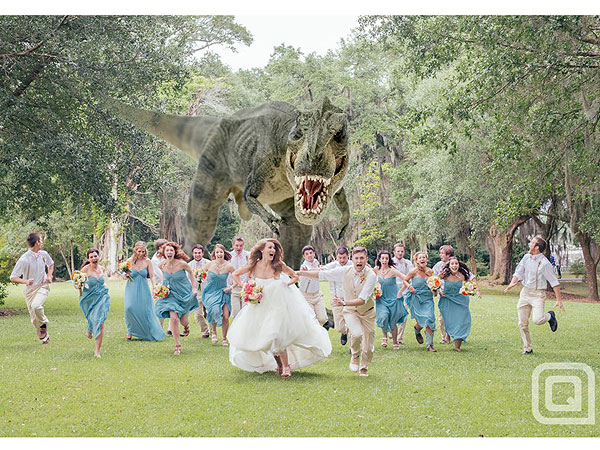 T. Rex in Wedding Photo