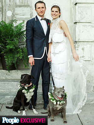 Lake Bell Wedding: Official Photo with Dogs of Honor