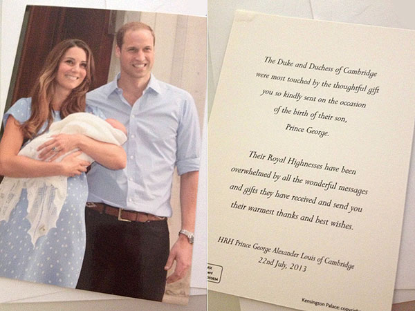 Prince William and Kate Send Royal Thank You