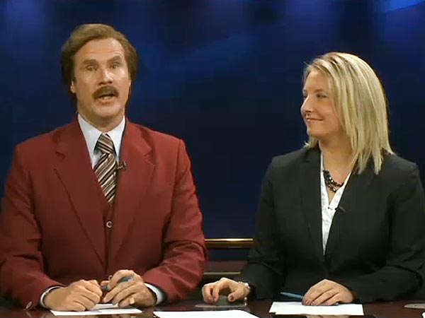 Will Ferrell as Ron Burgundy Anchors Bismarck Newscast