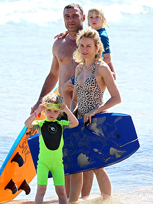 Naomi Watts, Liev Schreiber & Sons Hit the Beach in Australia