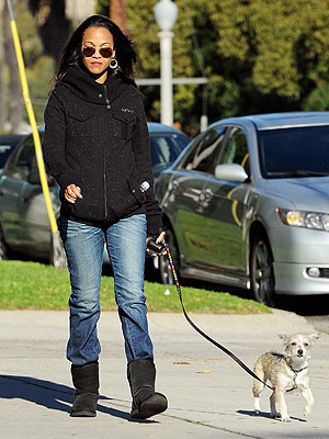 Zoe Saldana Walks Dog After Split from Bradley Cooper