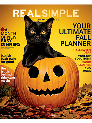 Real Simple Magazine Cover of Cat in Pumpkin: Photo
