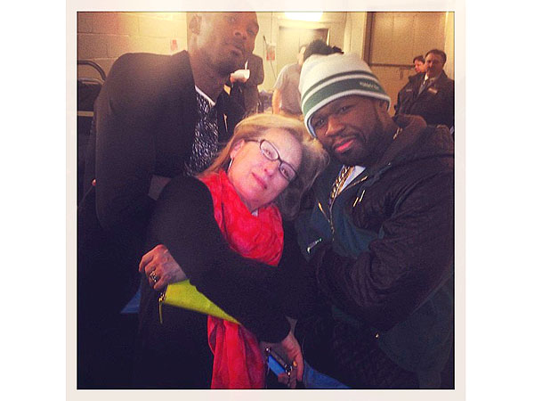 Meryl Streep, 50 Cent and Kobe Bryant Get 'Gangsta' at Lakers Game