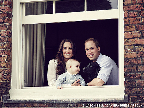 Prince George New Photo: Poses with Mom, Dad and Dog Lupo