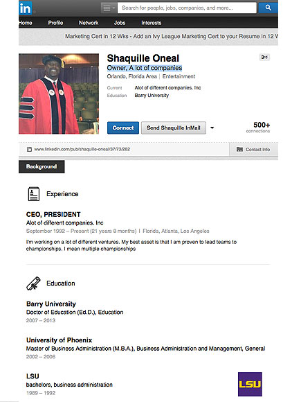 Shaquille O'Neal's LinkedIn Profile Is Real
