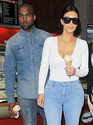 Kim Kardashian and Kanye West Stop for Pre-Wedding Ice Cream in Paris