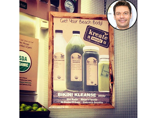 Ryan Seacrest Tries Bikini Klease Juice Fast