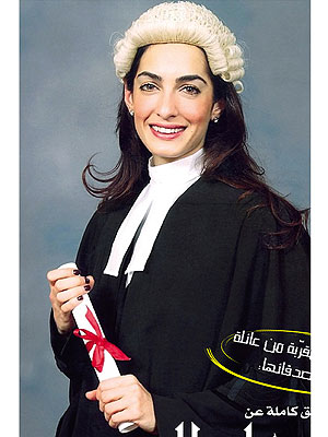 George Clooney's Fiancée Amal Alamuddin Dons a Wig in Graduation Photo