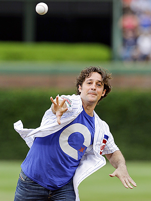 Thomas Ian Nicholas Throws First Pitch at Wrigley Field