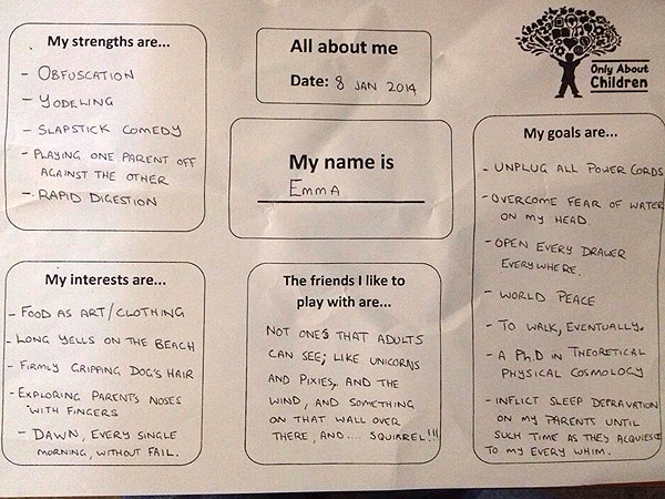 Dad Fills out Questionnaire in Voice of Baby, with Hilarious Results