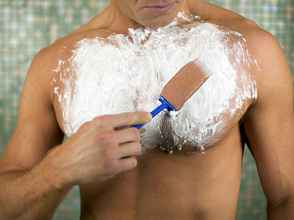 Men Shaving Chest Hair into Bikini Design