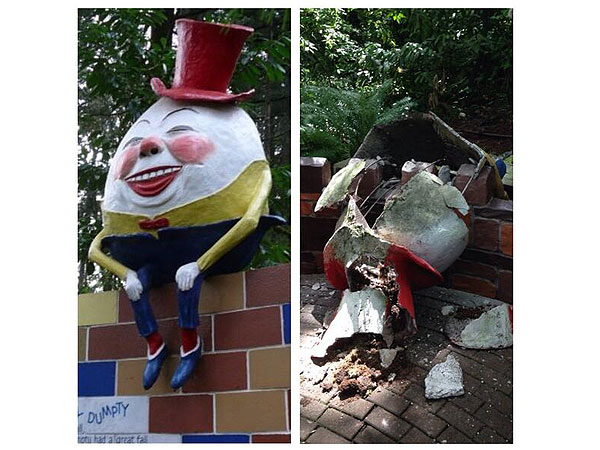 Humpty Dumpty Statue Breaks at Oregon's Enchanted Forest Theme Park